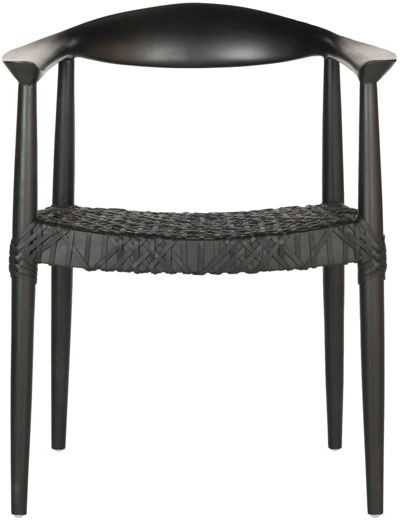 Safavieh Bandelier Arm Chair Black Wood Reclaimed Teak 7 MM Cowhide Leather FOX1003B 889048051515