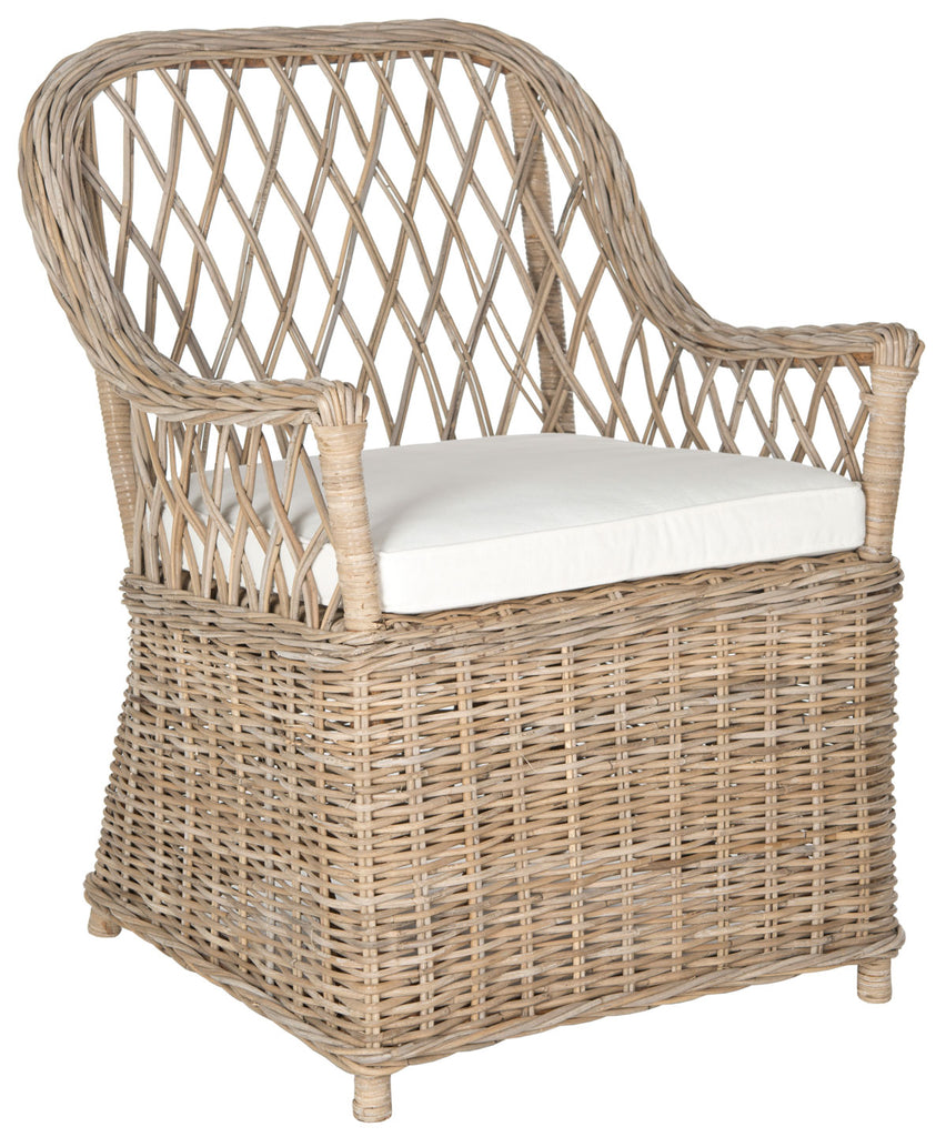 Safavieh Maluku Arm Chair Rattan Natural CA Foam FOX1604A 683726301073