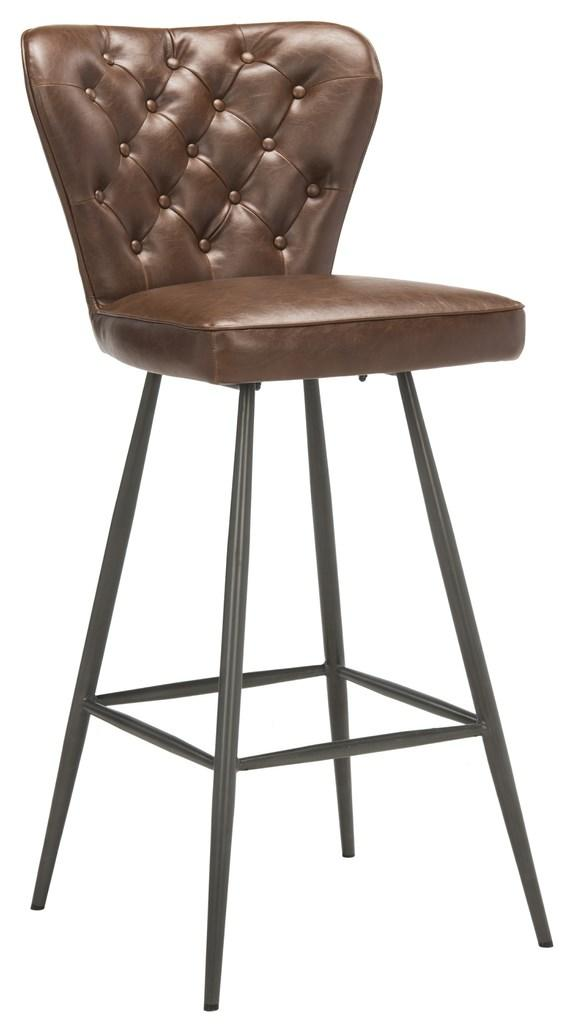 "Safavieh - Set of 2 - Aster Bar Stool 30""H Modern Leather Tufted Mid Century Burgundy Black Metal Foam Steel PU Poly Cotton FOX1703A-SET2 889048214897"