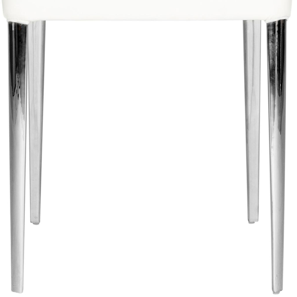 Safavieh - Set of 2 - Baltic Side Chair 18''H Leather White Metal PU Foam Stainless Steel FOX2012A-SET2 683726686385