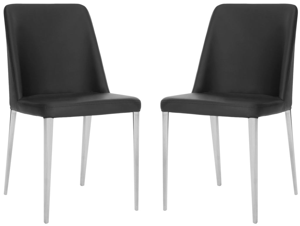 Safavieh - Set of 2 - Baltic Side Chair 18''H Leather Black Metal PU Foam Stainless Steel FOX2012B-SET2 683726686408