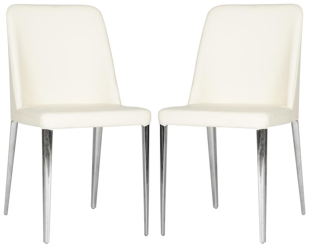 Safavieh - Set of 2 - Baltic Side Chair 18''H Leather Buttercream Metal PU Foam Stainless Steel FOX2012C-SET2 683726686422