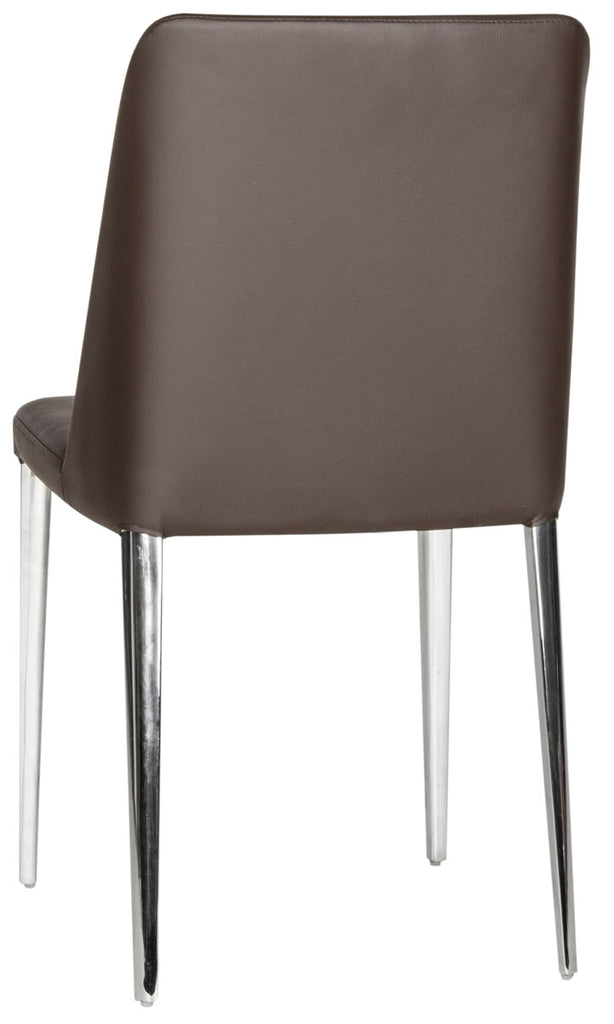 Safavieh - Set of 2 - Baltic Side Chair 18''H Leather Brown Metal PU Foam Stainless Steel FOX2012D-SET2 683726686583