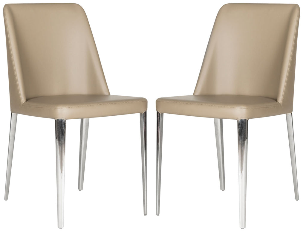 Safavieh - Set of 2 - Baltic Side Chair 18''H Leather Taupe Metal PU Foam Stainless Steel FOX2012E-SET2 683726686606