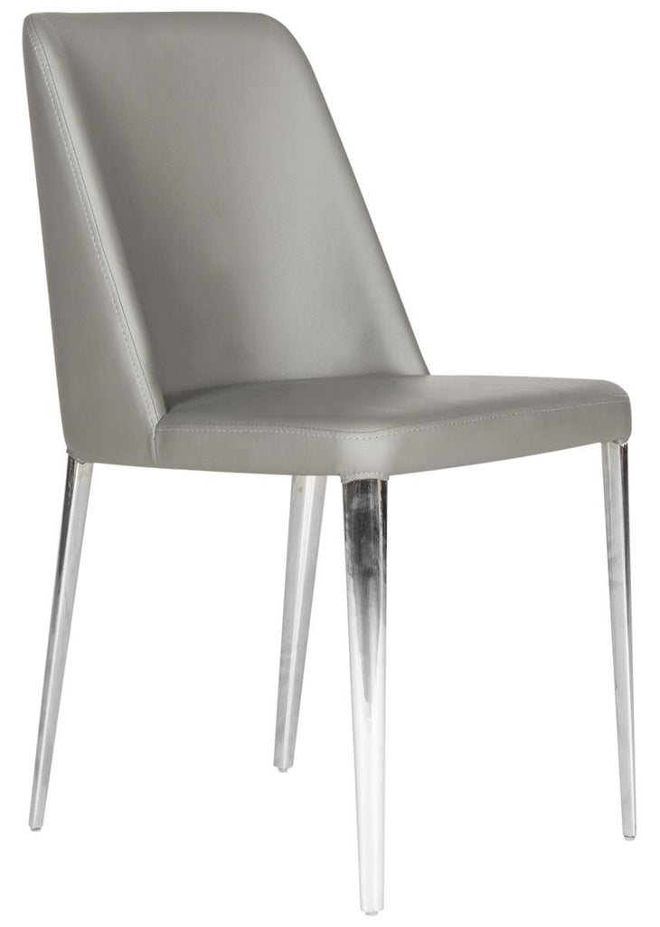 Safavieh - Set of 2 - Baltic Side Chair 18''H Leather Grey Metal PU Foam Stainless Steel FOX2012H-SET2 683726688525