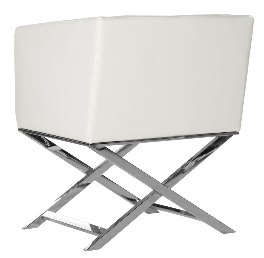 Safavieh Celine Chair Bonded Leather Chrome Cross Leg White Metal Polished Stainless Steel FOX2033C 889048092198