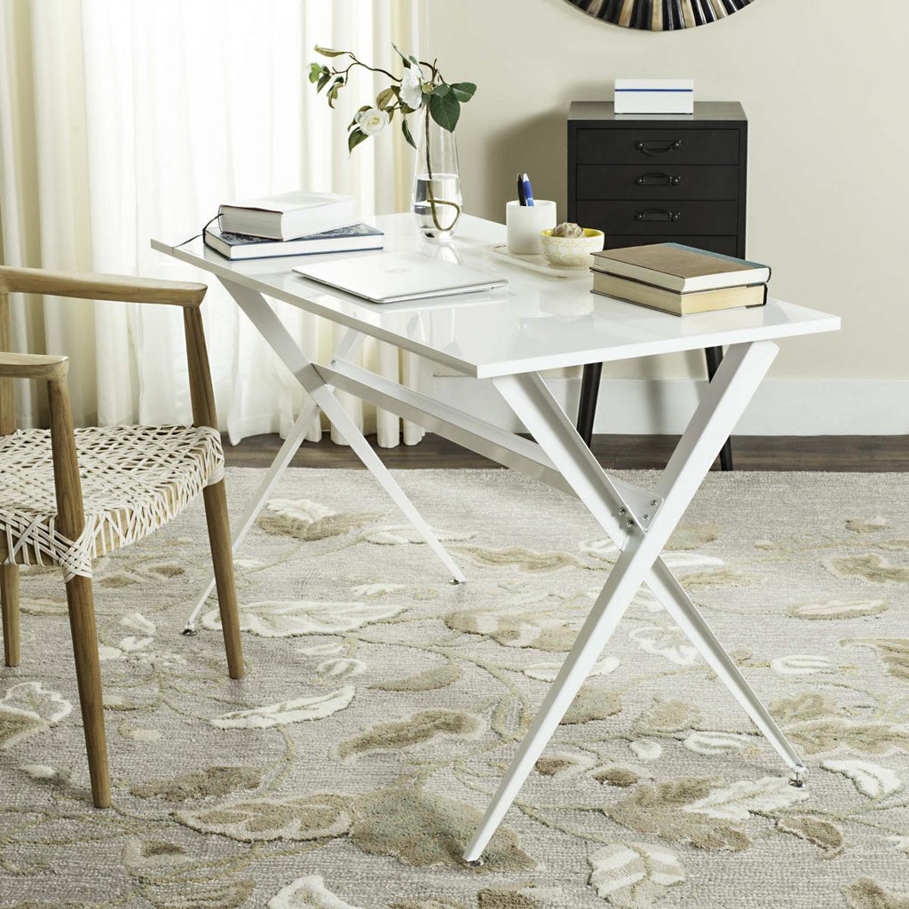 Safavieh Chapman Desk White Wood MDF Iron FOX2208C 889048171664