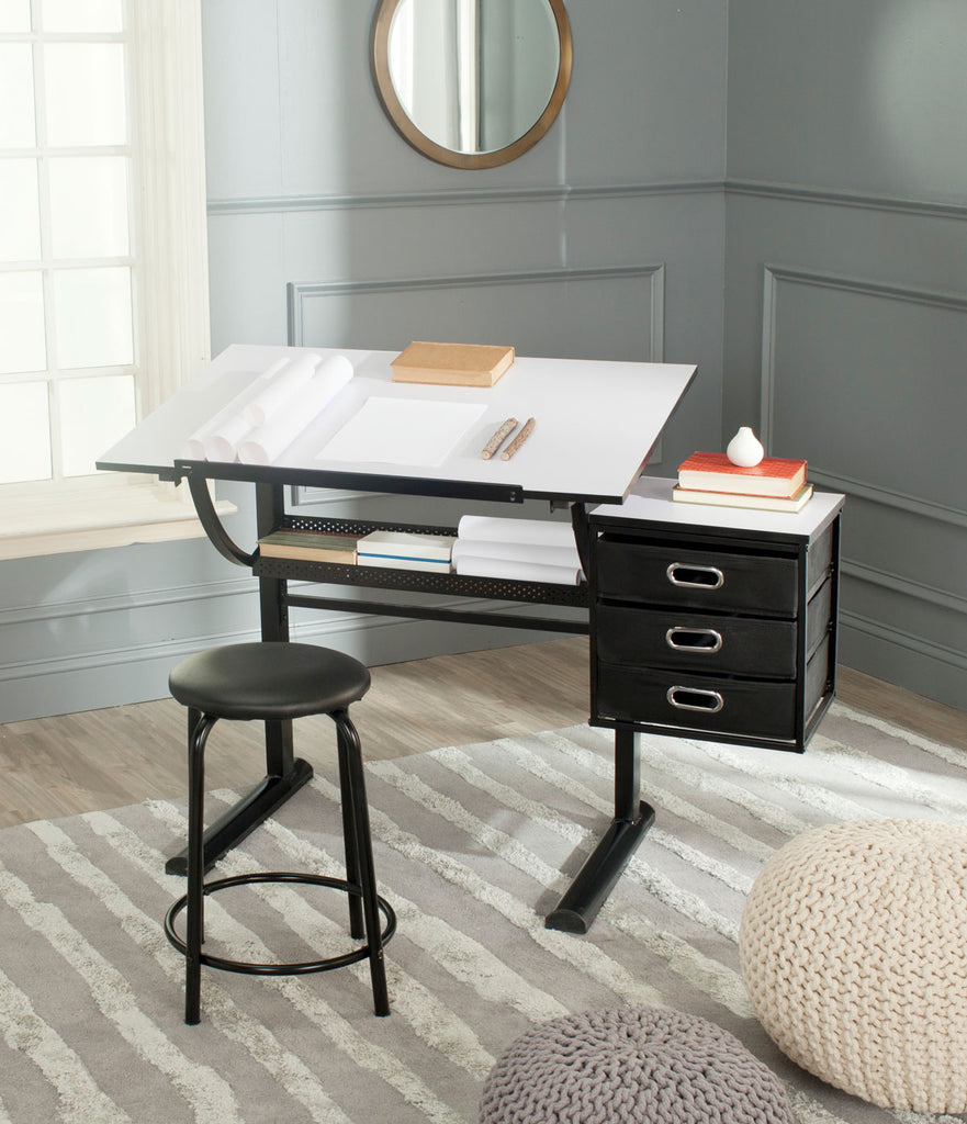 Safavieh Harvard Writing Desk Black White Wood MDF Iron FOX2218A 683726492139