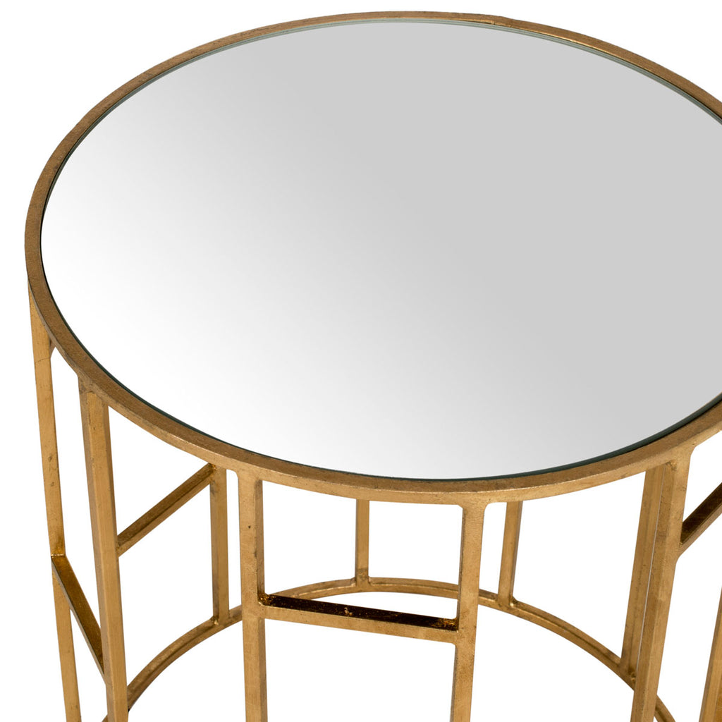 Safavieh Doreen Accent Table Mirror Top Gold Metal Lacquer Coating Iron FOX2533A 683726437406