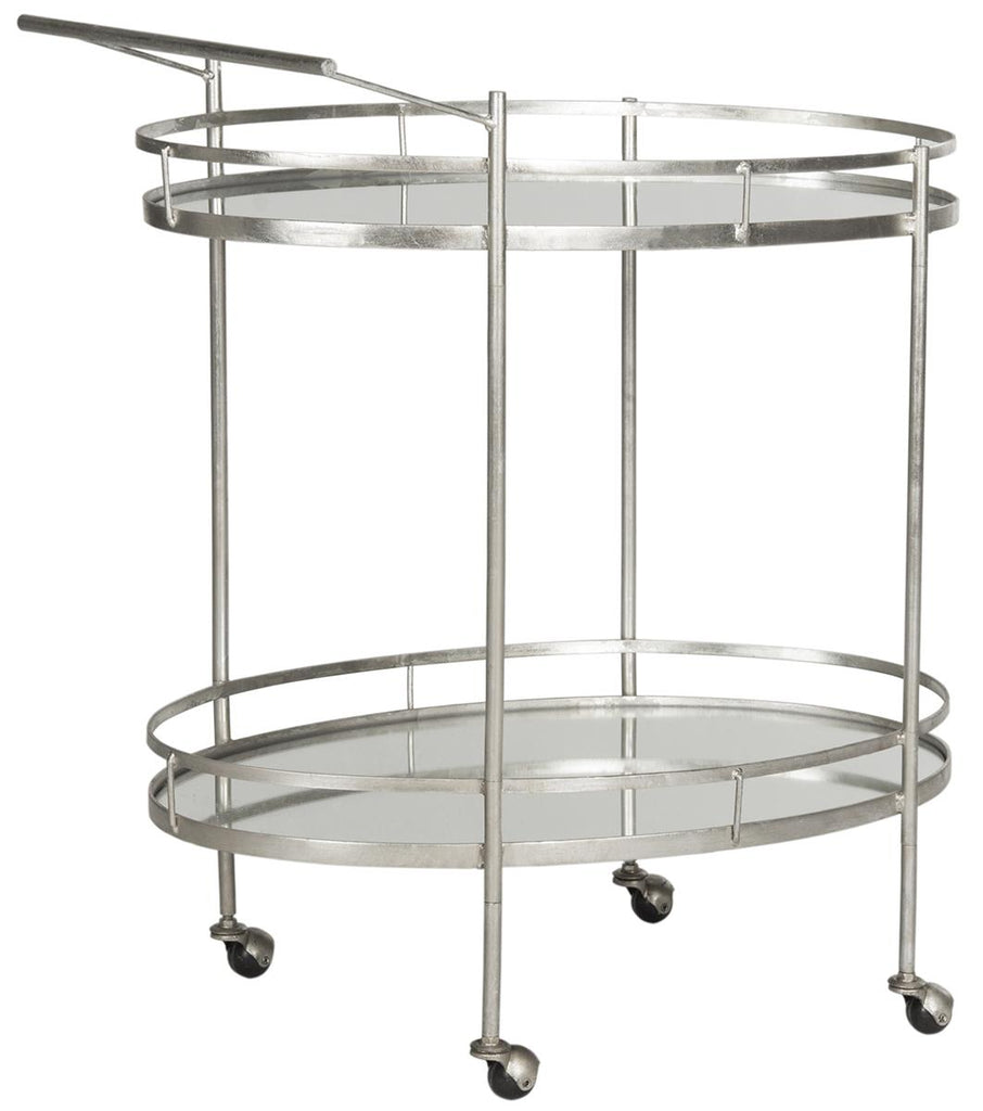 Safavieh Dante Bar Cart Silver Metal Lacquer Coating Iron FOX2553A 683726732648