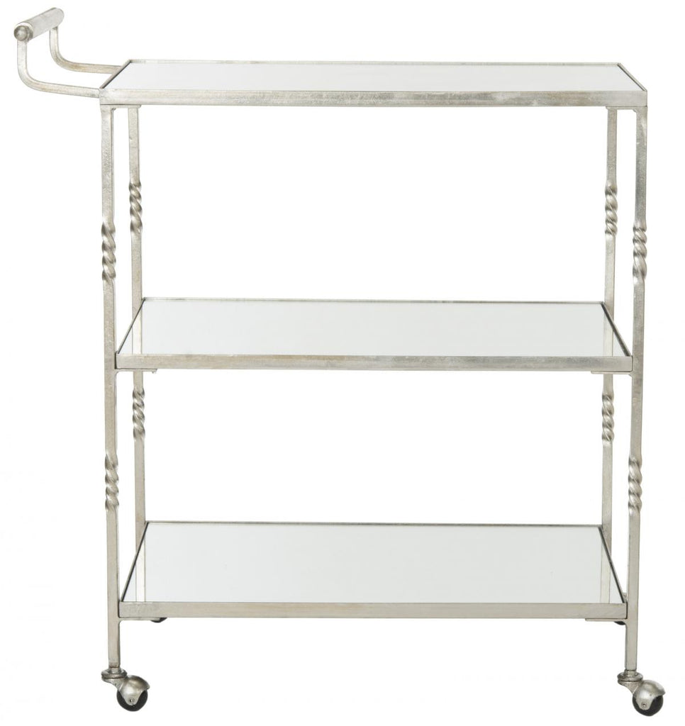 Safavieh Aurelius Bar Cart Silver Metal Lacquer Coating Iron FOX2557A 683726732792