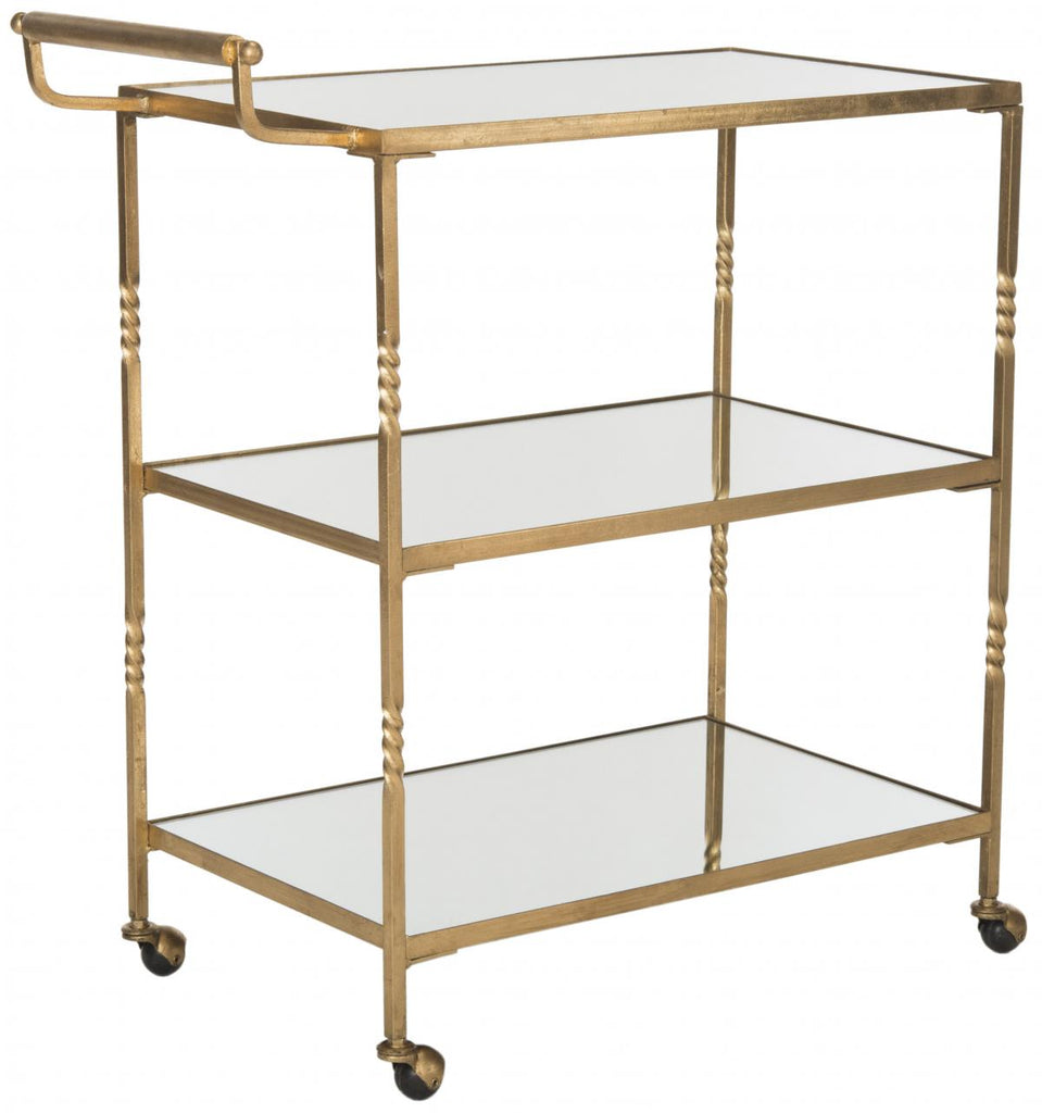 Safavieh Aurelius Bar Cart Gold Metal Lacquer Coating Iron FOX2557B 683726732808
