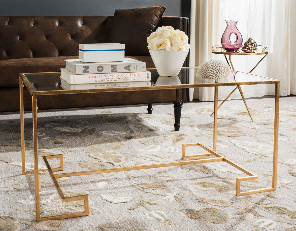 Safavieh Burton Coffee Table Antique Gold Metal Lacquer Coating Iron FOX2582A 889048001190