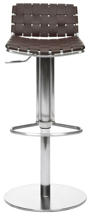 Safavieh Floyd Bar Stool Gas Lift Swivel Brown Metal Stainless Steel Regenerated Leather FOX3000A 683726897453