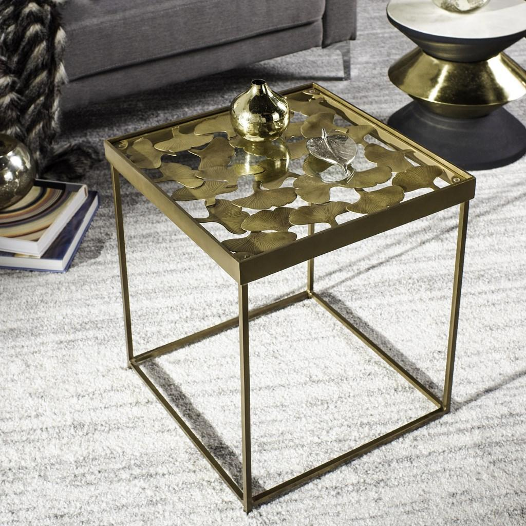Safavieh Lilian Side Table Leaf Antique Brass Metal Iron FOX3218A 683726493686