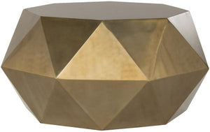 Safavieh Astrid Coffee Table Faceted Brass Metal Iron FOX3223A 683726790464