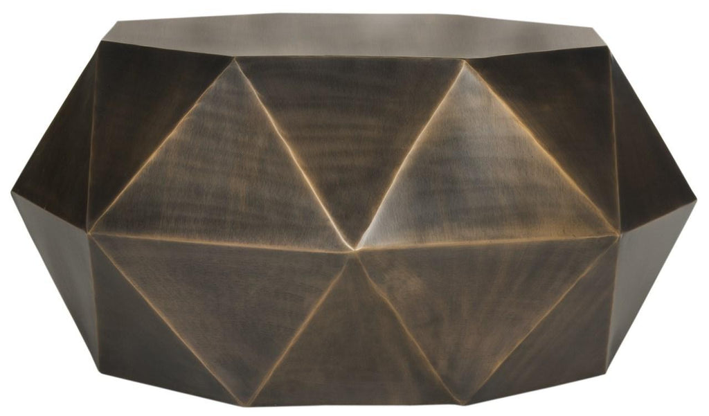 Safavieh Astrid Coffee Table Faceted Copper Metal Iron FOX3223B 889048265868