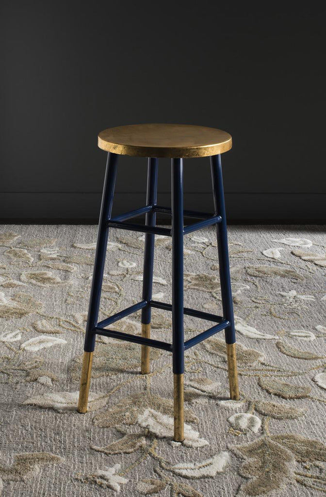 Safavieh Emery Bar Stool Dipped Navy Gold Metal Iron FOX3230A 889048107489