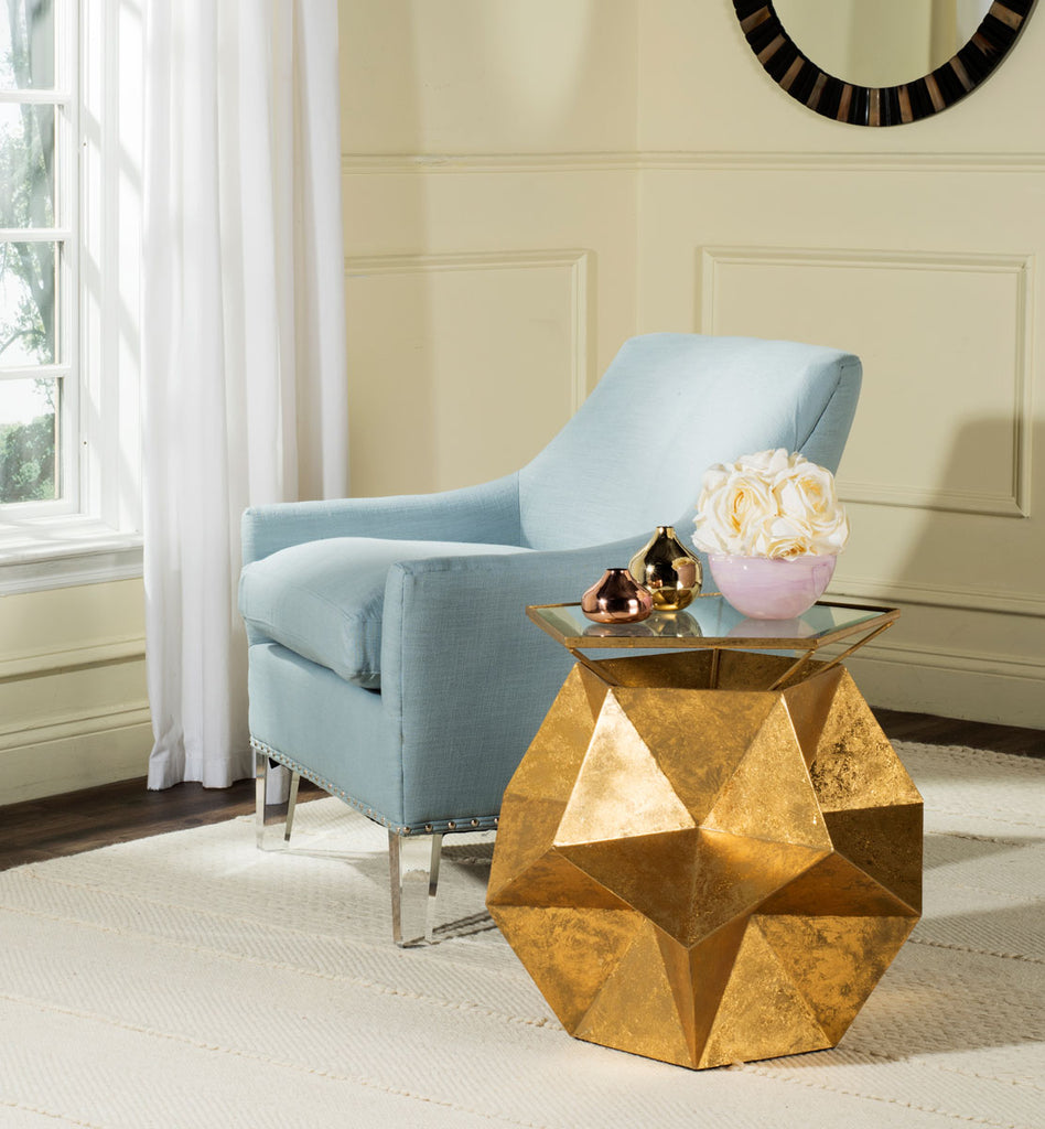 Safavieh Iona Side Table Gold Metal Iron Glass FOX3252A 889048112315