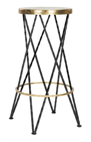 Safavieh Hester Bar Stool Black Gold Metal Iron FOX3253A 889048282070