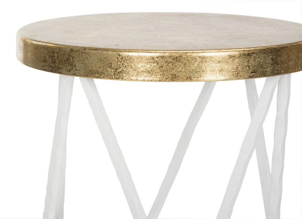 Safavieh Hester Bar Stool White Gold Metal Iron FOX3253B 889048282087