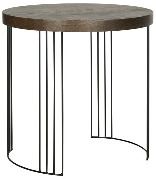 Safavieh Kelly Side Table Mid Century Scandinavian Dark Brown Black Wood Lacquer Coating MDF Iron FOX4201B 683726343318