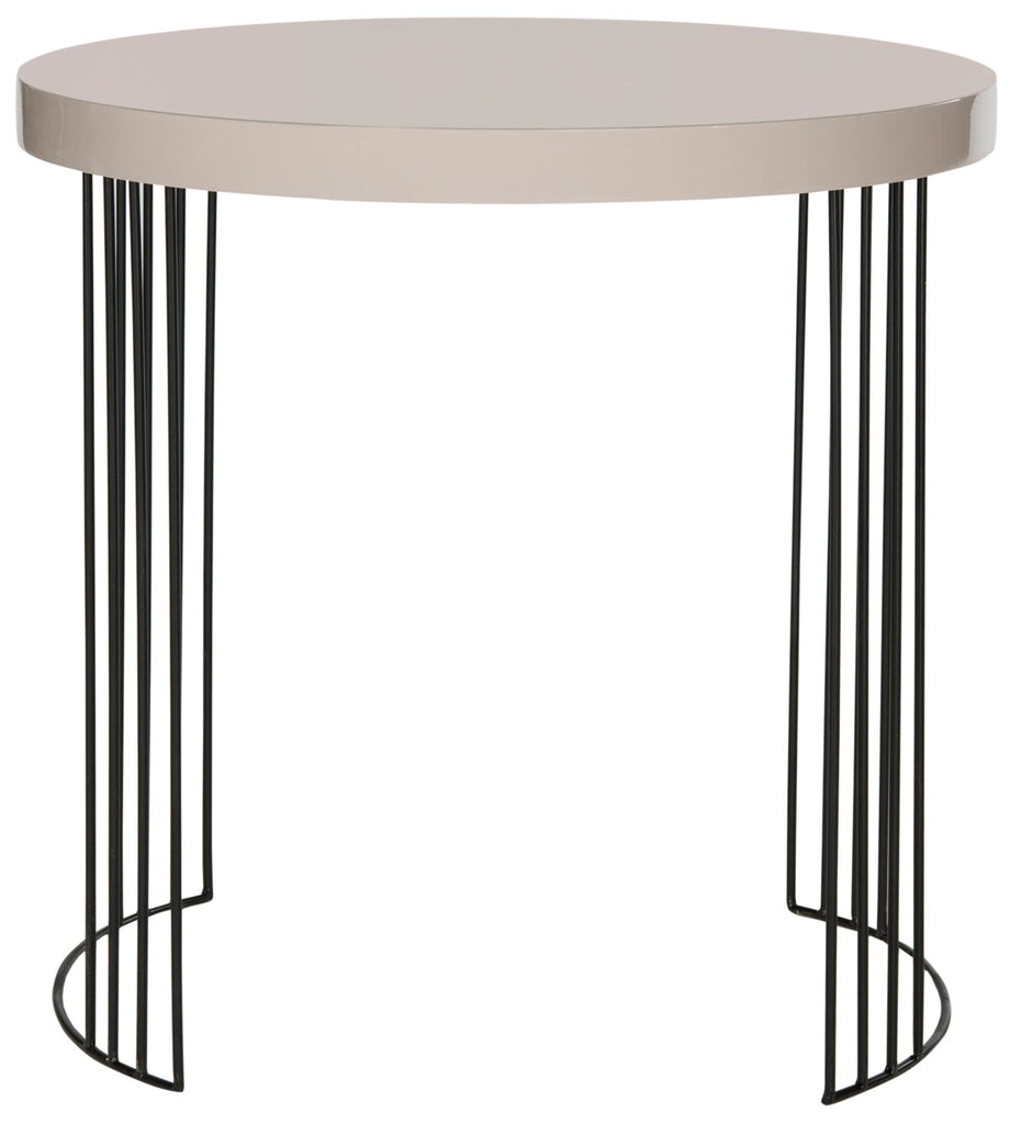 Safavieh Kelly Side Table Mid Century Scandinavian Taupe Black Wood Lacquer Coating MDF Iron FOX4201C 683726343394