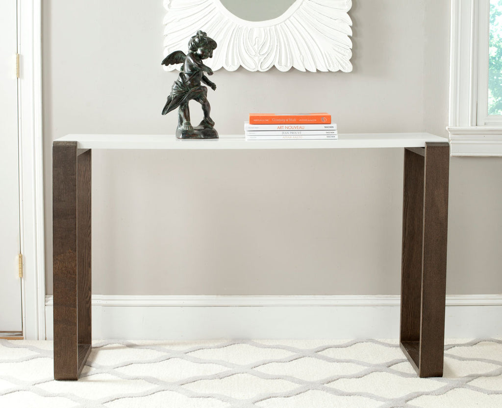 Safavieh Bartholomew Console Table Mid Century Scandinavian White Dark Brown Wood Lacquer Coating MDF FOX4209A 683726345046
