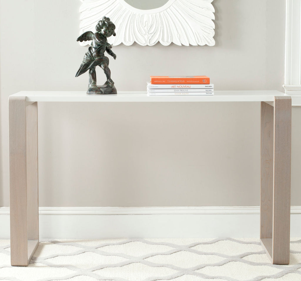 Safavieh Bartholomew Console Table Mid Century Scandinavian White Grey Wood Lacquer Coating MDF FOX4209B 683726345077