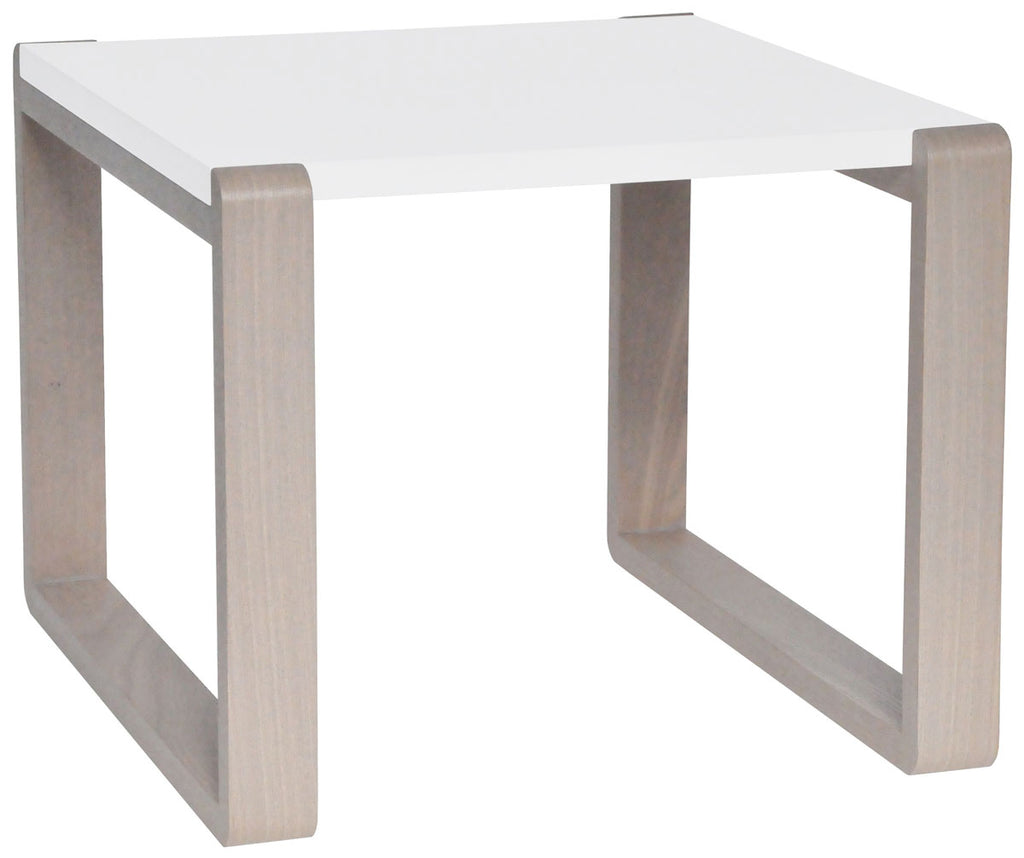 Safavieh Bartholomew End Table Mid Century Scandinavian White Grey Wood Lacquer Coating MDF FOX4211B 683726347415