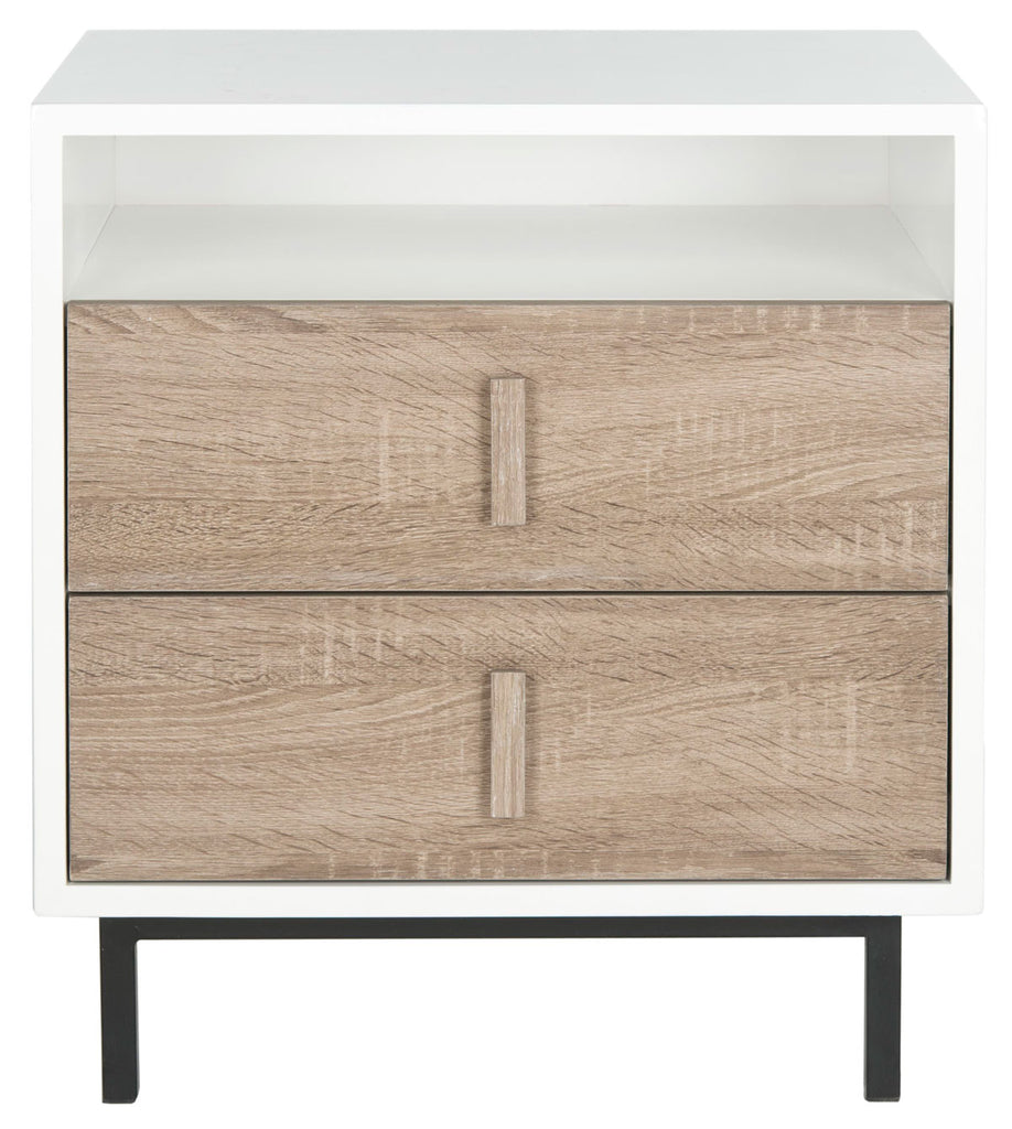 Safavieh Kefton Cabinet Mid Century Scandinavian Two Drawer White Oak Black Wood Lacquer Coating MDF Iron FOX4219A 683726349839