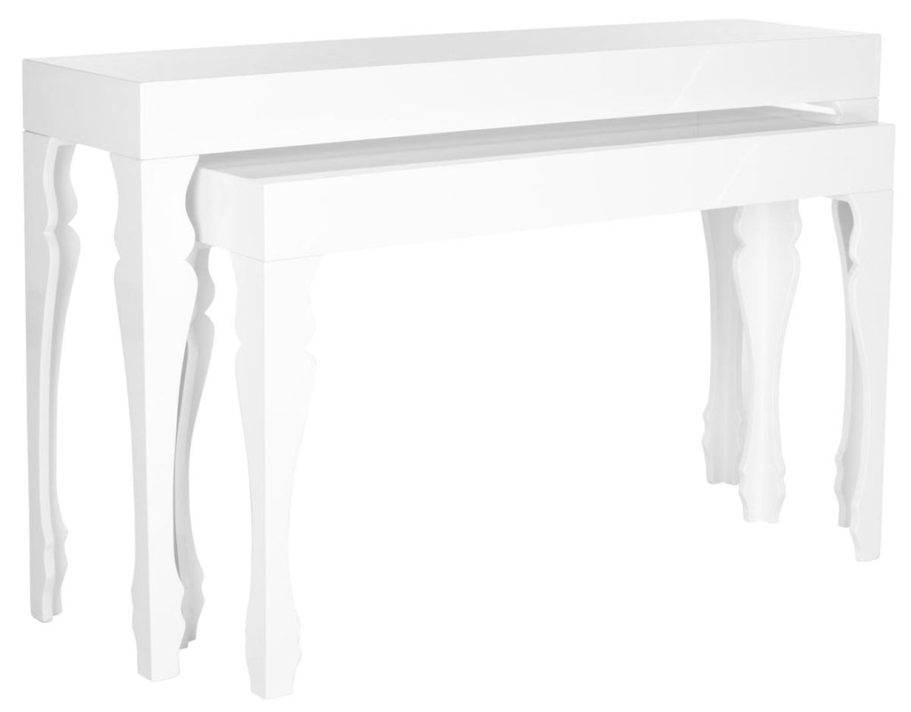 Safavieh Beth Console French Leg Stacking White Wood Lacquer Coating MDF FOX4221A 683726349877