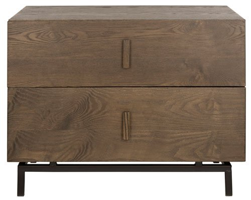 Safavieh Herschel Cabinet Mid Century Scandinavian Two Drawer Dark Brown Black Wood NC Coating MDF Iron FOX4225A 683726350057