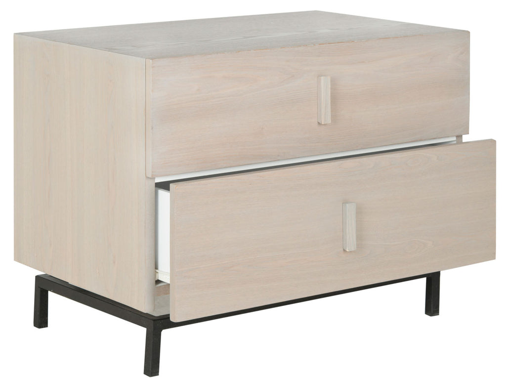 Safavieh Herschel Cabinet Mid Century Scandinavian Two Drawer Grey Black Wood NC Coating MDF Iron FOX4225B 683726350064