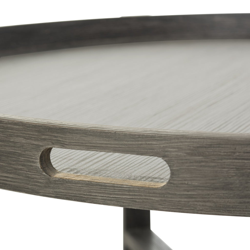 Safavieh Cursten Coffee Table Retro Mid Century Tray Top Dark Grey Wood Water Based Paint MDF Iron FOX4231A 889048200166