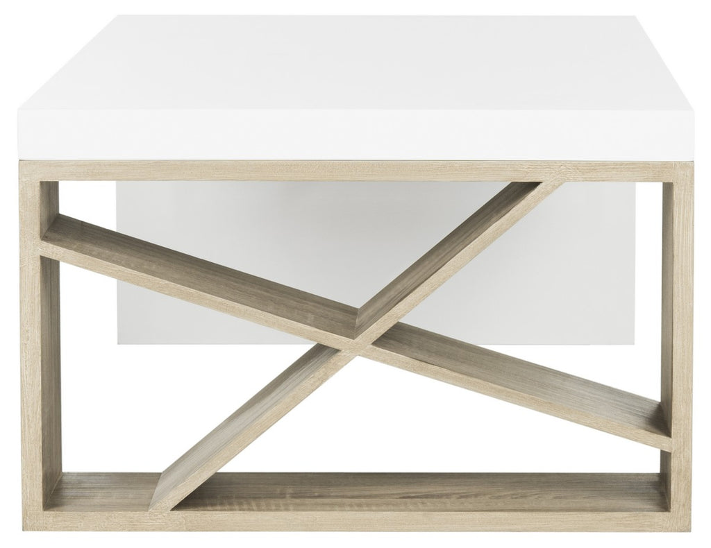 Safavieh Carlton Side Storage Coffee Table Modern Scandinavian White Light Oak Wood PU Water Painting MDF Iron FOX4236A 889048200210
