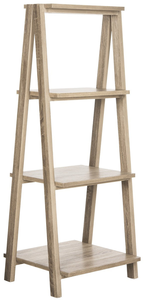 Safavieh Deitria Shelf 49'' Retro Scandinavian Three Tier Light Oak Wood Water Based Paint MDF Iron FOX4237A 889048200227