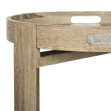 Safavieh Hamish Side Table Retro Mid Century Tray Top Light Oak Wood Water Based Paint MDF Iron FOX4248A 889048200364