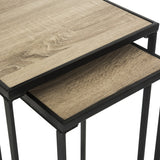 Safavieh Callia End Table Retro Mid Century Stacking Light Oak Black Wood NC Coating Powder MDF Iron FOX4268A 889048200630
