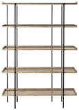 Safavieh Cecilia Etagere Retro Mid Century 5 Tier Oak Black Wood NC Coating Powder MDF W Laminate Iron FOX4271A 889048428744