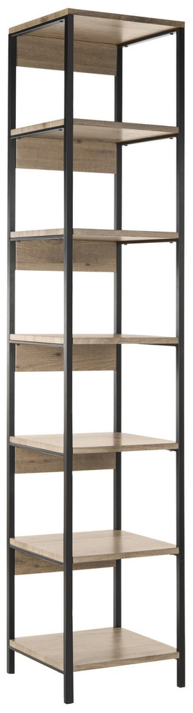 Safavieh Lisa Etagere Retro Mid Century 7 Tier Oak Black Wood NC Coating Powder MDF W Laminate Iron FOX4275A 889048428782