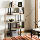 Safavieh Louise Etagere Retro Mid Century Oak Black Wood NC Coating Powder MDF Paper Foil Finish Iron FOX4283A 889048428867