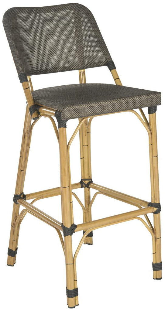 Safavieh Deltana Bar Stool Indoor Outdoor Stacking Dark Brown Light Brown Rattan PE Wicker Aluminium FOX5208A 683726782230