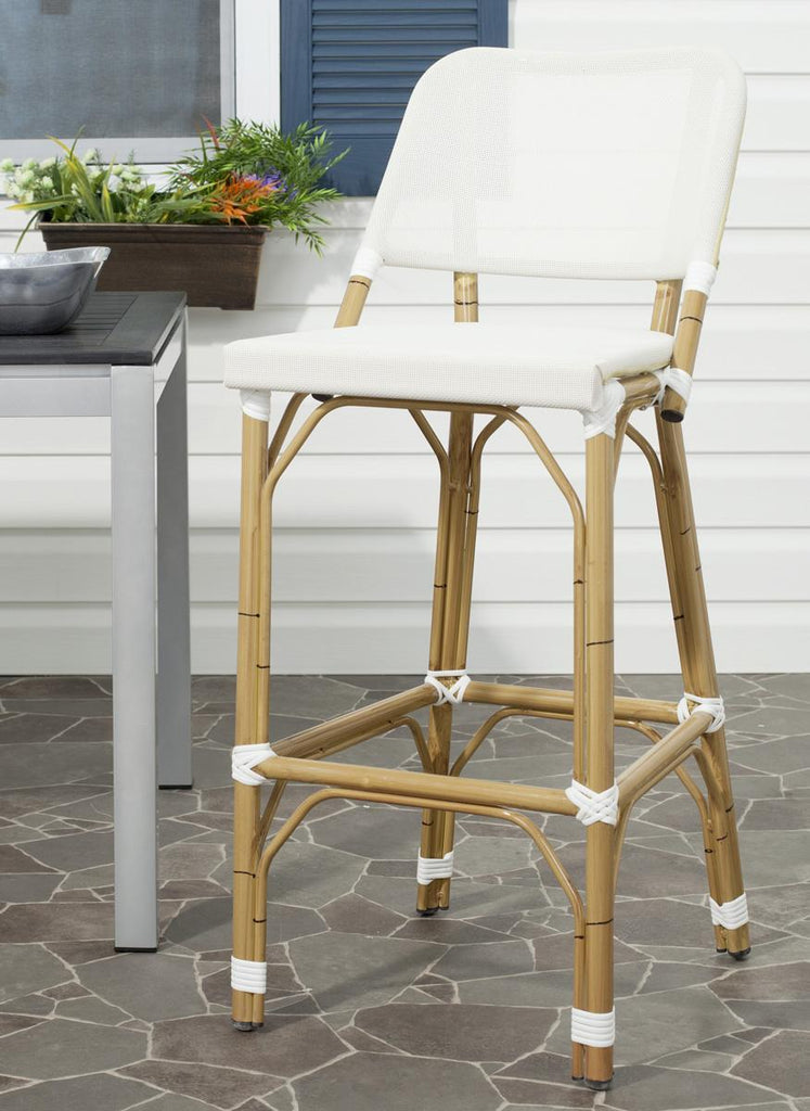 Safavieh Deltana Bar Stool Indoor Outdoor Stacking Beige Light Brown Rattan PE Wicker Aluminium FOX5208C 683726782261