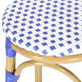 Safavieh Kipnuk Bar Stool Indoor Outdoor Stacking Blue White Light Brown Rattan PE Wicker Aluminium FOX5211A 683726787518