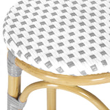 Safavieh Kipnuk Bar Stool Indoor Outdoor Stacking Grey White Light Brown Rattan PE Wicker Aluminium FOX5211B 683726787525