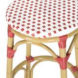 Safavieh Kipnuk Bar Stool Indoor Outdoor Stacking Red White Light Brown Rattan PE Wicker Aluminium FOX5211C 683726787549