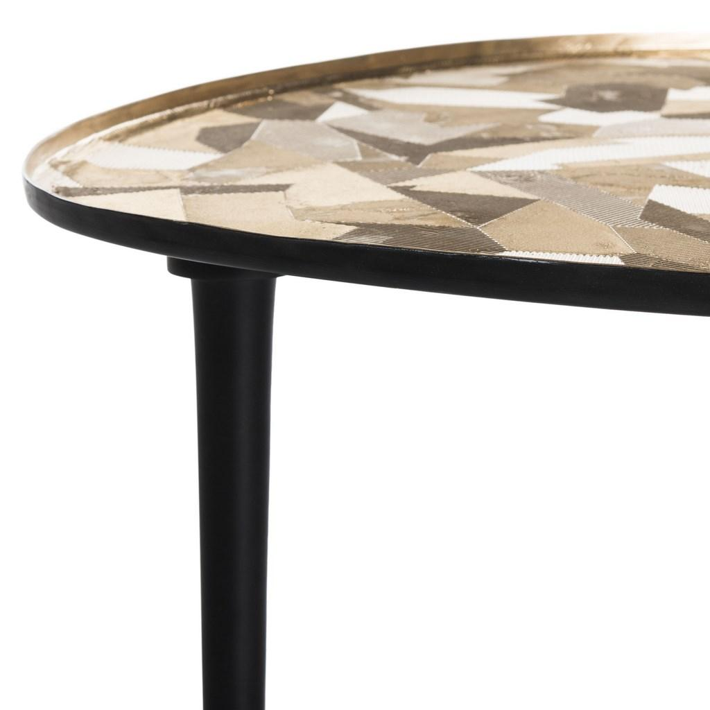 Safavieh Hera Side Table Oval Black Metal Powder Coating Aluminium Iron FOX5521A 889048273580