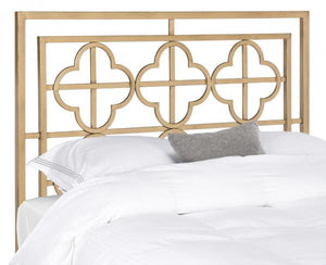 Safavieh Lucinda Headboard Queen Antique Gold and Iron Foam Metal Black Plating FOX6215D-Q 889048273672