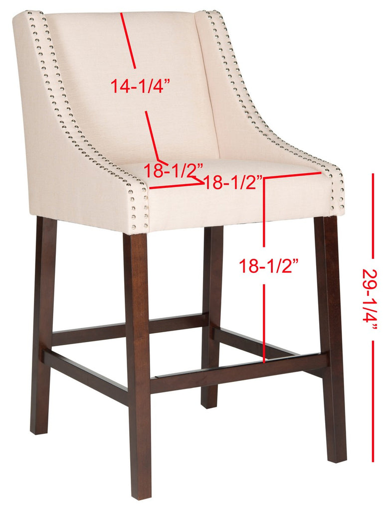 Safavieh Dylan Bar Stool Beige Espresso Lacquer Coating Rubberwood Foam Iron Linen FOX6222A 889048014374